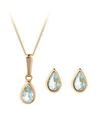 9ct gold November (blue topaz) birthstone earring, pendant & chain set. Gift box