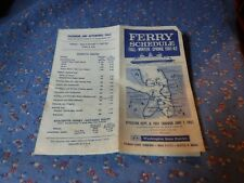Washington State Ferries Ferry Schedule Fal Winter Spring 1961-62  Pamphlet