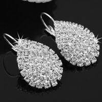 925 Silver Glitter Rhinestone Teardrop Dangle Womens Earrings Jewelry Gift