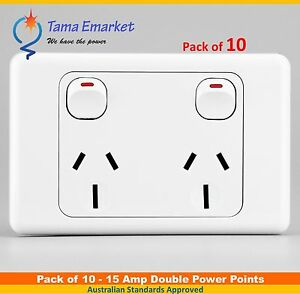 10 pieces 15 Amp Double Power Point Socket GPO 240V 15A Electrical Outlet SAA