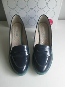 WOMENS BODEN LEATHER NAVY BLUE MID HEEL LOAFER SIZE 5.5