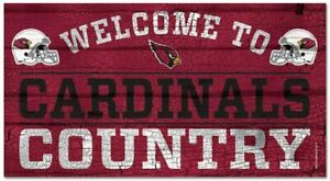 NFL Arizona Cardinals Welcome to Country Wood Sign Holzschild Holz 61x33