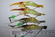 4x Pre-rigged soft plastic prawn fishing lure, 9.5cm, Snapper, Bream, flathead *