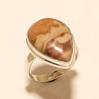 Natural Mexican Crazy Lace Agate Ring 925 Sterling Silver Christmas Jewelry Gift