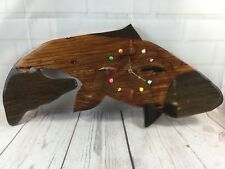 Handmade Carved Natural Wooden Fly Fishing Fish Salmon Trout Hanging Wall Clock