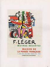 "1989 VINTAGE ""F. LEGER"" OEUVRES RECENTES MOURLOT MINI POSTER COLOR Lithograph"