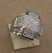 Men's Rhodium Plated Pave CZ Fancy Fashion Large Round Cross Ring Size 12 New