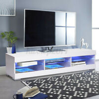 "57"" Modern White TV Stand Unit Console Table with LED Light Entertainment Center"
