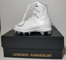 9d78bd1d1 NEW UNDER ARMOUR UA Highlight RM Jr. Football Cleats WHITE  METALLIC YOUTH  SZ 1Y