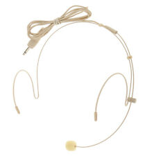 Beige Color 3.5mm Mono Telescopic & Foldable Head-mounted Headset Microphone