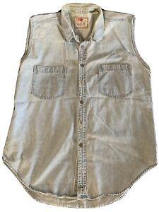Vintage 1980s-1990s Levi Jeans Denim Button Down Sleeveless Shirt Sleeveless-XL