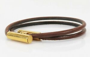 Authentic HERMES Tournis Goldtone and Brown Leather Bracelet #39506