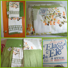 VTG 1960s MID Century NOS Artex Ela Ele Avocado Green Flowers Bath Towel Set LOT