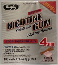 Rugby Nicotine Gum 4Mg Stop Smoking Aid Coated Cinnamon Flavor 100 Count, 1 Pack