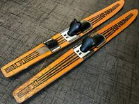"Vintage Pair 68"" Full Size RIVIERA Adjustable Binding Metal Fin Wood Water Skis"