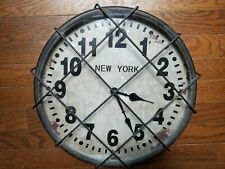 """Large 14"""" Wall Clock New York Subway Metal Cage Vintage Style"""
