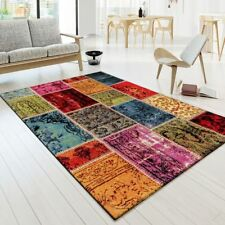 Modern Rug Carpet Patchwork Vibrant Colours Rugs Multi Living Room Soft Mats Red