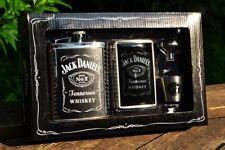 Jack Daniels 6 oz Hip Flask - Shot Glass - Funnel - Cigarette Card Case Gift Set