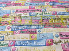 QUilters Cotton fabric rows of WORDS BTHY half yard pastel cut pre-laundered
