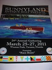 "Lake Mount Dora Sunnyland 16 x 20"" Featuring Vintage Race Boat Boat Poster 2011"