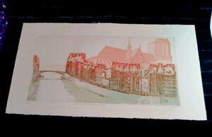 Mario Micossi Pencil Signed Etching & Aquatint - Seine Avec Notre Dame de Paris