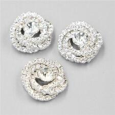 DIY Silver Rhinestone Buttons 4PCS SewingClear Crystal Bridal Dress Craft Button