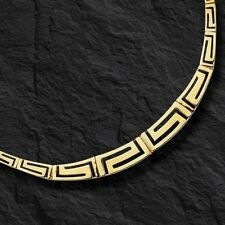 """14kt Yellow gold Graduated Greek Key Cut Out  necklace 17""""  15 grams"""
