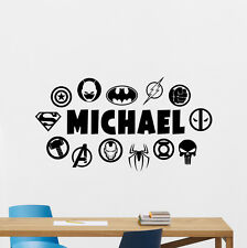 Personalized Superheroes Logo Wall Decal Custom Name Vinyl Sticker Mural 163zzz