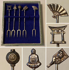 Vintage Boxed JAPANESE Sterling Hors D'oeurves Fork Set BUDHA GEISHA PAGODA FAN+