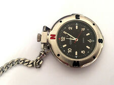 Fashion Pocket Watch & Chain Works Cherokee #32-387 St Steel Silver Color