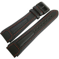 20mm Di-Modell Chronissimo Long Black Red Leather PVD BUCKLE Watch Band Strap