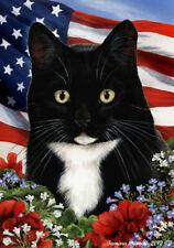 Patriotic (1) House Flag - Black and White Tuxedo Cat 16950