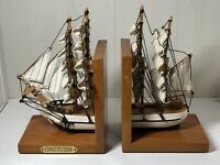 Vintage Pair Of Nautical Mast Ship Wooden Bookends With Brass Plaque