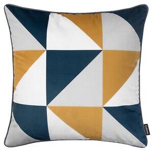 Geometric Cushion Mustard Yellow Navy Blue Grey Throw Cover Sofa Top 45cm 18in