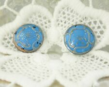 Vintage Antique Blue Glass Silver Buttons Set of Two (2)