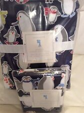 Pottery Barn Kids Navy Penguin Flannel Twin Duvet & 1 Std Sham Set Winter Xmas