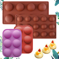 3D Half Ball Silicone Chocolate Mold Sphere Cake Baking Moulds Tray 6/8/15-Holes