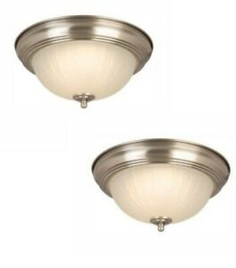 Commercial Electric 11in Integrated LED Flushmount Light Brushed Nickel 2-Pack