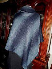 Shawl Poncho Wrap NWT Women's Calessa Wool Blend Turtle Neck  Indigo Black L/XL