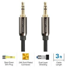 FosPower 3FT 24k Gold Plated Braided 3.5mm Stereo Audio Cable Cord M/M MP3 AUX