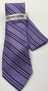 Stacy Adams Men's Tie Hanky Set Lavender Navy White Hand Made 100% Microfiber