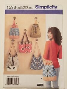Simplicity pattern number 1598 purse / bag/ tote new uncut free shipping