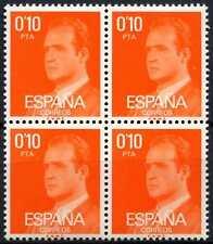 España 1976-84, 10 C Rey Carlos Definitivos estampillada sin montar o nunca montada Bloque de 4 #D64348