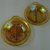 2 Relish Dish Killarney Amber 2-Part Indiana Glass Divided Floral Merigold
