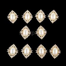 10pcs Pearl Oval Rhinestone Buttons Flatback Embellishment Hair Bow Crafts