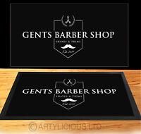 Gents Black & White crest Barber Bar runner shop Barber Shop Counter mat
