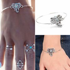 Womens Girls Boho Turquoise Hollow Elephant Bracelet Cuff Bangle Jewelry