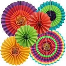 Mexican Fiesta Hanging Paper Fan Decorations (Set of 6) Pride Rainbow Party
