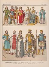 Byzanz Mode Trachten 800 - 1000 Mittelalter Kaiser Krieger LITHOGRAPHIE von 1882