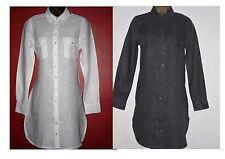 New Fat Face White Slate Grey Linen Summer Tunic Shirt Dress Size 8/10/12/14/16